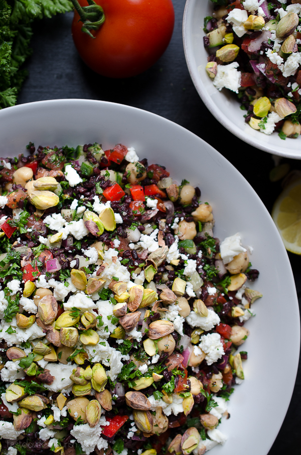 Black Rice Tabbouleh with Chickpeas Feta and Pistachios - black rice adds so much nutty nutrition along with hearty chickpeas, tangy feta and crunchy pistachios! | @tasteLUVnourish on TasteLoveAndNourish.com