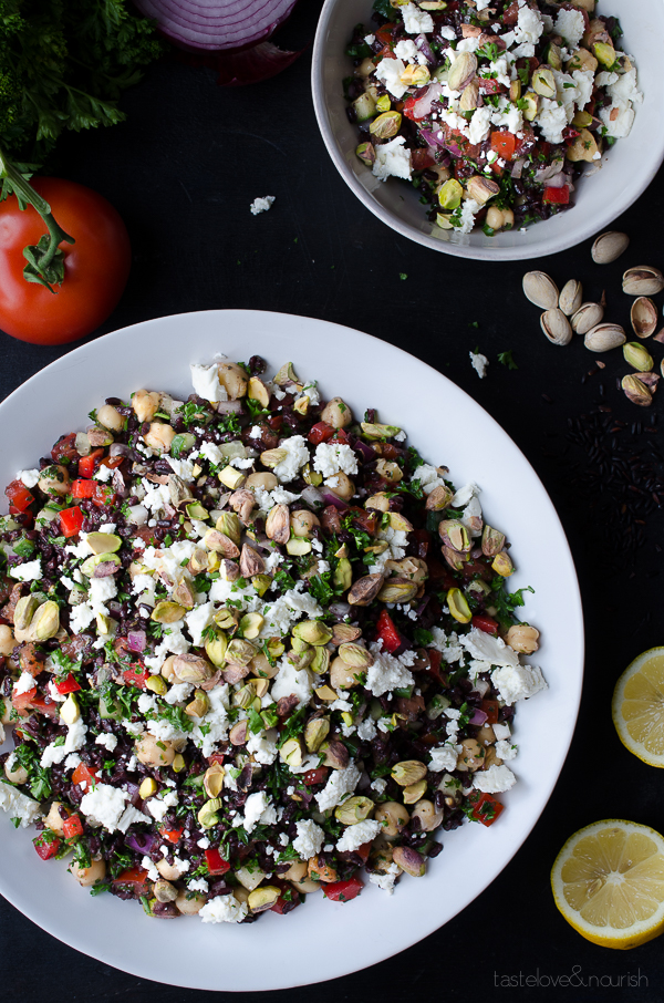 Black Rice Tabbouleh with Chickpeas Feta and Pistachios - black rice adds so much nutty nutrition along with hearty chickpeas, tangy feta and crunchy pistachios!   @tasteLUVnourish on TasteLoveAndNourish.com