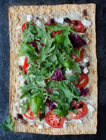 Ricotta Salata and Olive Grilled Flatbread with Kale Italia