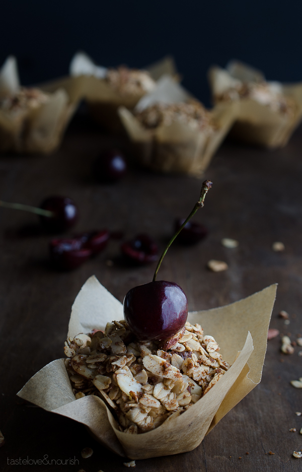 Cherry Crunch Blender Muffins - without any flour, you can whip these crunchy topped muffins up in minutes in your blender! Loaded with sweet, fresh cherries, these are amazing! | @tasteLUVnourish on TasteLoveAndNourish.com