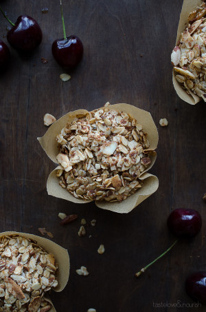 Cherry Crunch Blender Muffins - without any flour, you can whip these crunchy topped muffins up in minutes in your blender! Loaded with sweet, fresh cherries, these are amazing!   @tasteLUVnourish on TasteLoveAndNourish.com