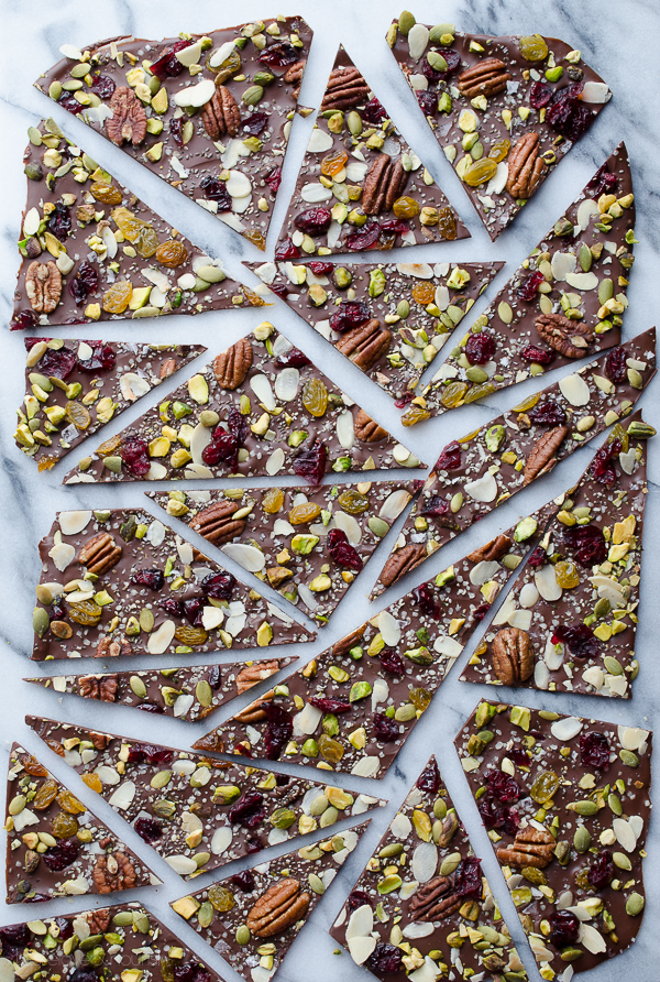 Hippie Chocolate Bark - dark chocolate loaded with fruits, nuts and seeds. Tips on how to create chocolate bark with just one baking sheet. | @tasteLUVnourish on TasteLoveAndNourish.com
