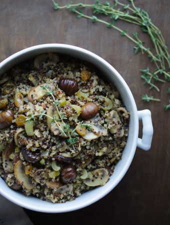 Quinoa and Chestnut Stuffing - this quinoa stuffing with sweet roasted chestnuts and golden raisins is such a delicious alternative to traditional stuffing! | @tasteLUVnourish on TasteLoveAndNourish.com