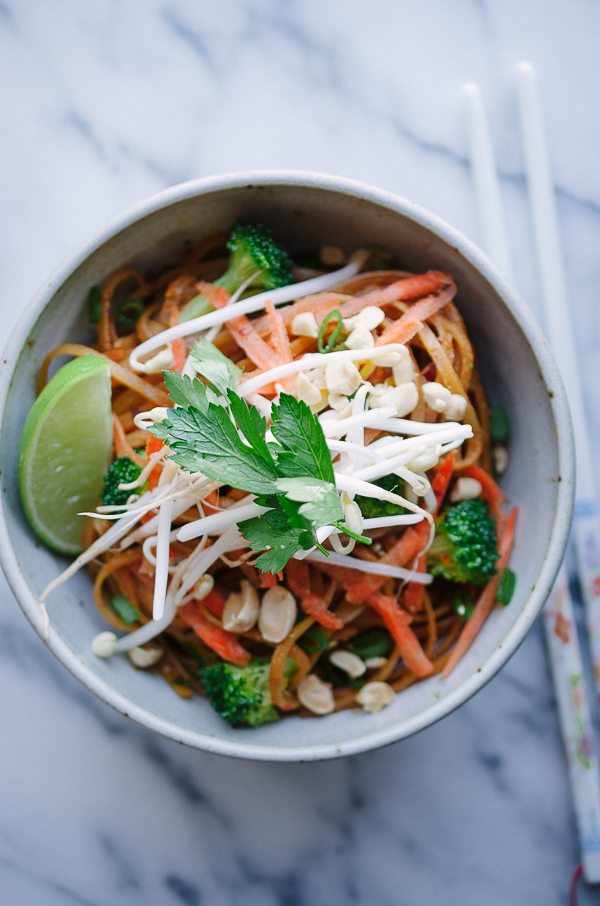 Easy Vegan Vegetable Pad Thai - this easy recipe is my family's favorite! This is such a healthier alternative to take-out! | @tasteLUVnourish