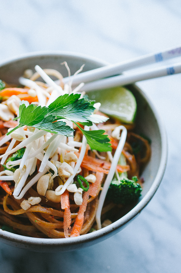 Easy Vegan Vegetable Pad Thai - this easy recipe is my family's favorite! This is such a healthier alternative to take-out! Vegan and Gluten-Free!  @tasteLUVnourish