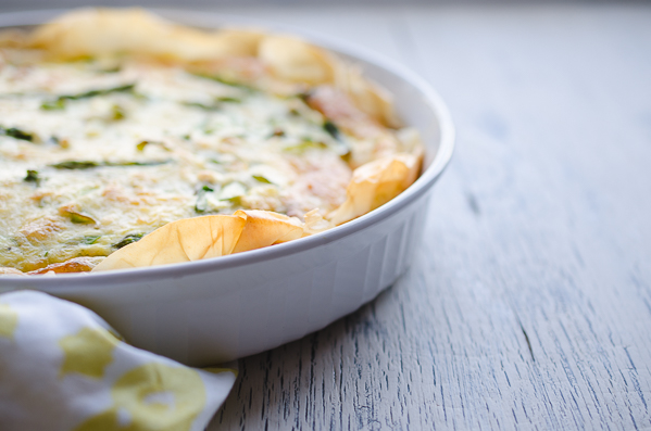 Asparagus and Swiss Phyllo Quiche - this crowd favorite is so much easier than using a traditional crust and is a lighter, lower-carb version that tastes crazy delicious! @tasteLUVnourish