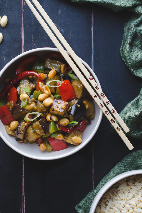 Kung Pao Eggplant - this easy recipe is so much better than any takeout you can order..and ready in 30 minutes or less. Naturally vegan and gluten-free.