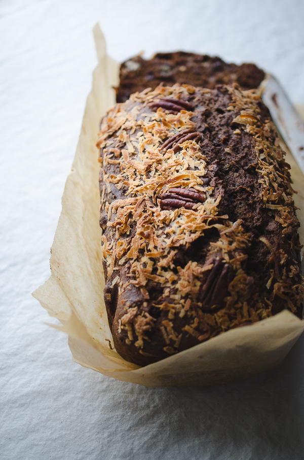 German Chocolate Chip Banana Bread - based off of a favorite recipe, this twist on German Chocolate Cake is fabulous! @tasteLUVnourish