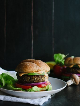 Mushroom and Quinoa Veggie Burger with Chipotle Aioli - this is every meat-lover's favorite veggie burger! This is one you'll want to bookmark!
