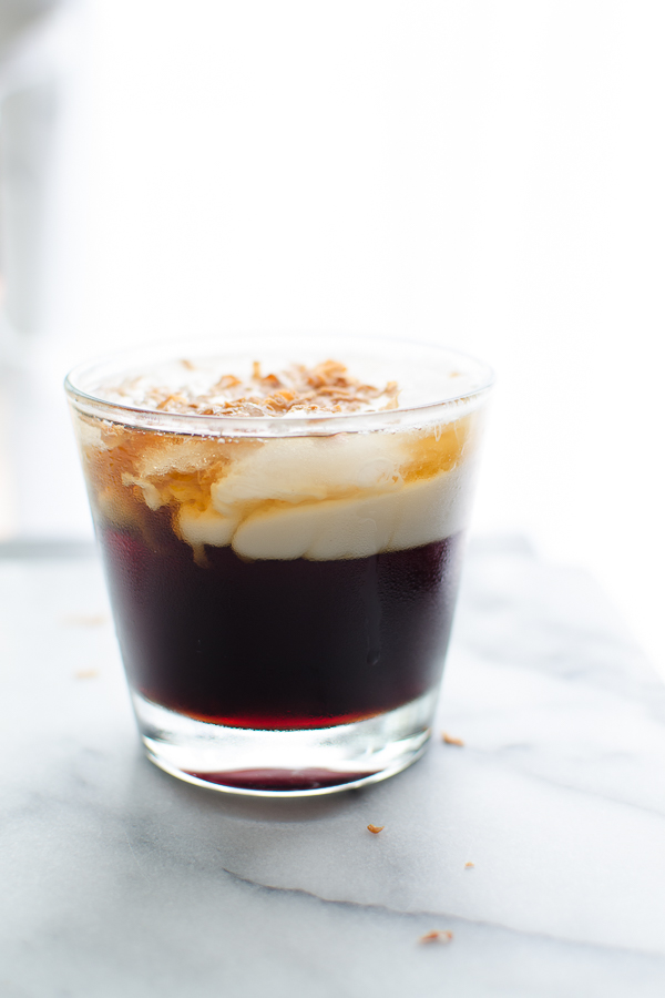This Toasted Coconut White Russian cocktail is such a fun spin on a classic favorite and so easy to make…just three main ingredients! Deliciously vegan! @tasteLUVnourish