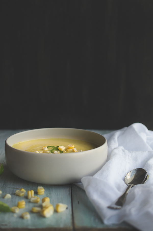 This Coconut Jalapeño Corn Soup is silky and sweet, with hints of jalapeño. The pop of sweet corn kernels make a perfect garnish! I love this trick to get the most flavor from fresh summer corn! @tasteLUVnourish