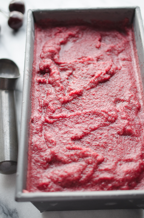 This Fresh Cherry Italian Ice is super easy, refreshing and delicious! @tasteLUVnourish