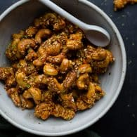 Sweet, spicy and a bit tangy, these Thai-inspired cashews are simply addicting! So easy! Whips up in minutes! @tasteLUVnourish