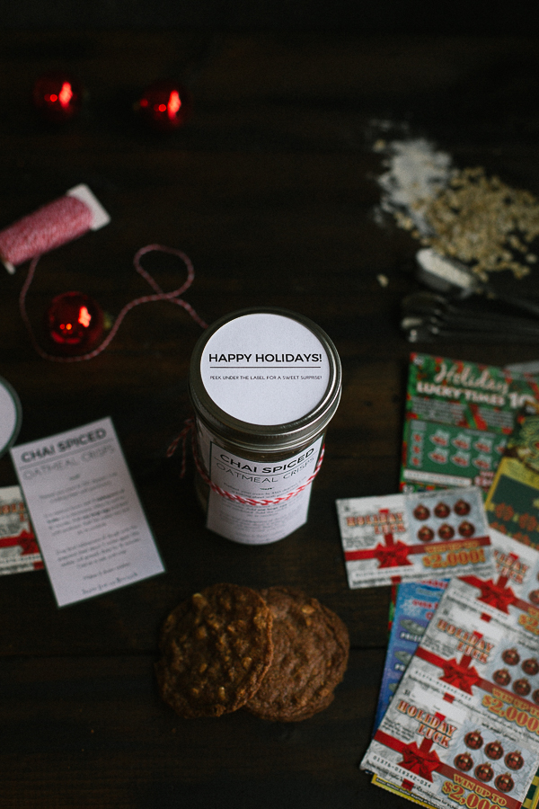 These irresistible Chai Spiced Oatmeal Crisps make a perfect gift! Free, printable labels to make gift-giving even easier!