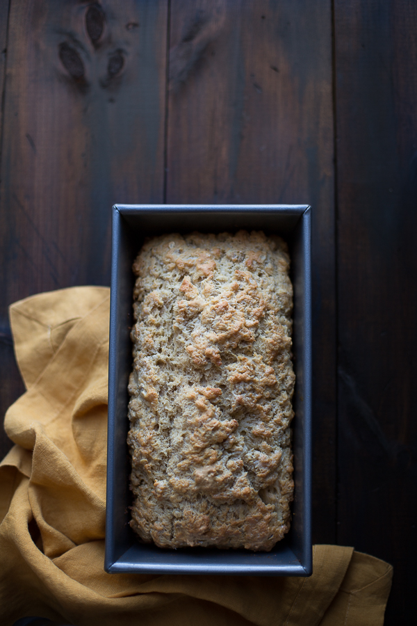 This quick and easy beer bread may be the best I've ever made! It's got the most buttery, crusty exterior with a rich interior. You'll want to make this over and over again! | @tasteLUVnourish