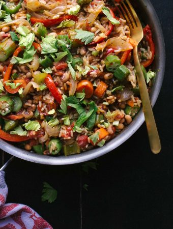 This easy Vegetable Jambalaya has amazing flavor with a bit of spice. Tips for creating satisfying vegetarian dishes make all the difference! | @tasteLUVnourish | Vegetarian | Vegan | Gluten-Free