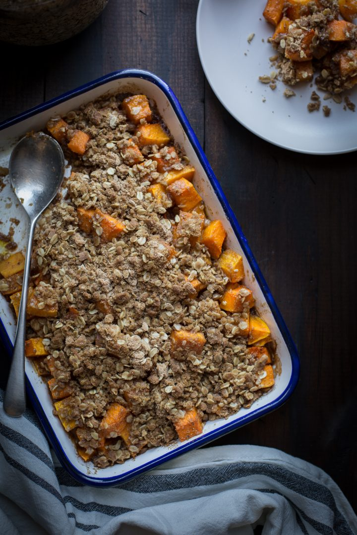 If quick, easy and delicious sound good to you about now…this Baked Butternut Maple Crisp needs to be on your holiday, or even weeknight, dinner table. Sweet, savory and a bit spicy, this may be your holiday go-to. From @tasteLUVnourish