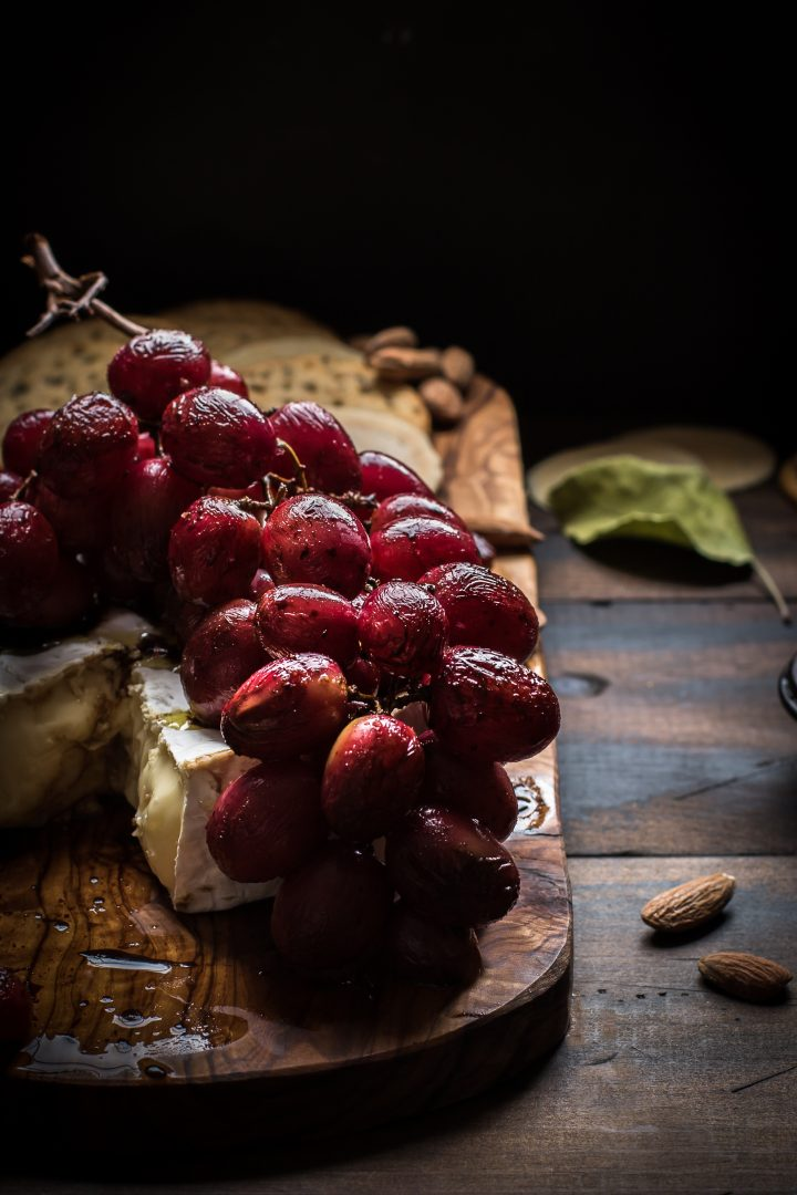 Balsamic Roasted Grapes served with Brie or you favorite cheese makes an easy and delicious appetizer. @tasteLUVnourish