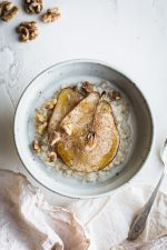 Creamy Steel Cut Oats with Roasted Pears