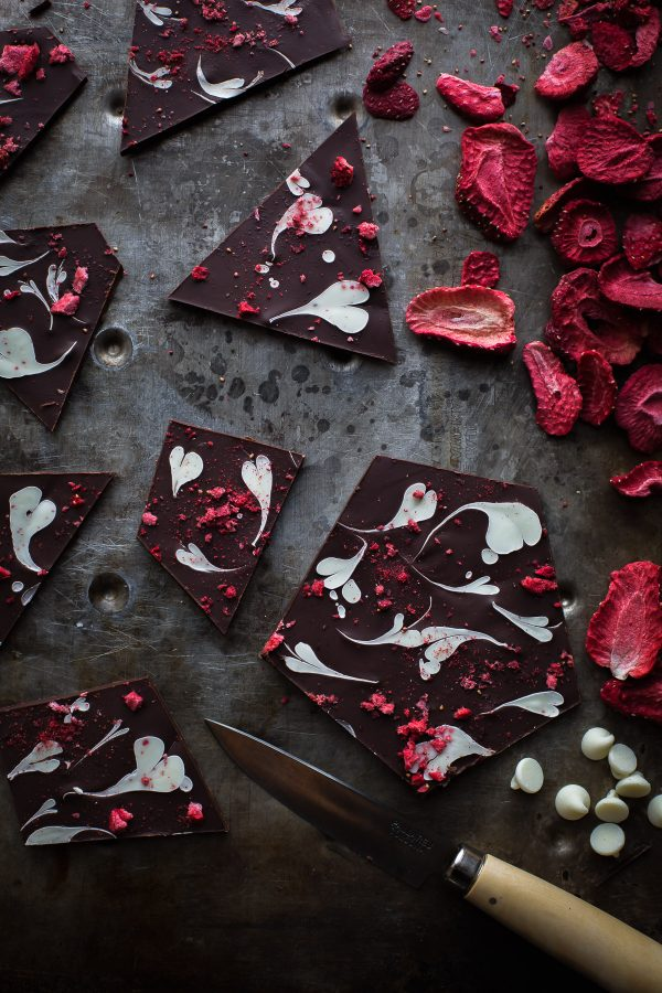 This Sweetheart Chocolate Bark could not be simpler to make. The heart swirls are so much fun! You'll love my easy oven method of melting chocolate! From @tasteLUVnourish