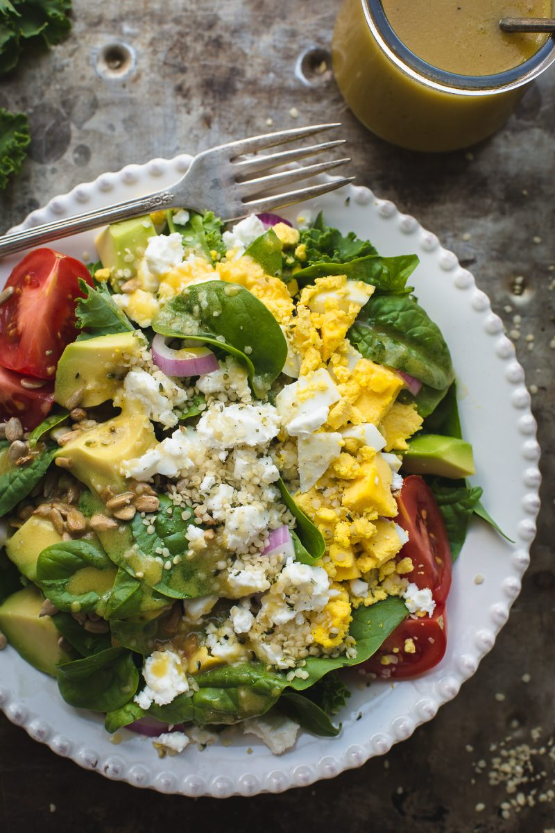 Spinach and Kale Salad with Honey Mustard Dressing