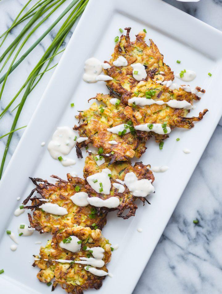 Zucchini Corn Fritters with Garlic Chive Aioli @tasteLUVnourish