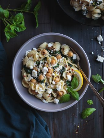 Orecchiette with Chickpeas Spinach and Feta