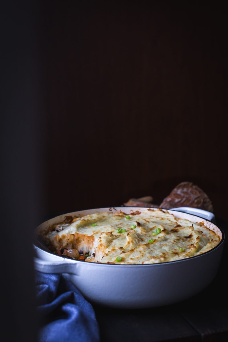 This cozy Vegetable Shepherd's Pie is hearty, delicious comfort food. www.tasteloveandnourish.com #shepherdspie #vegetarian #vegan #comfortfood #casserole #recipe #glutenfreeoptions #dinner