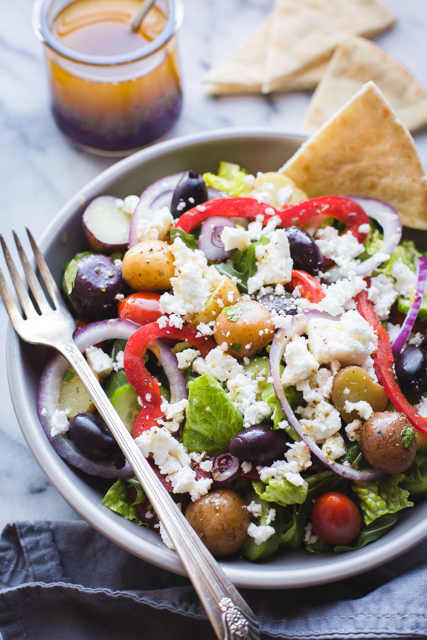 Greek Salad With Baby Potatoes Taste Love And Nourish