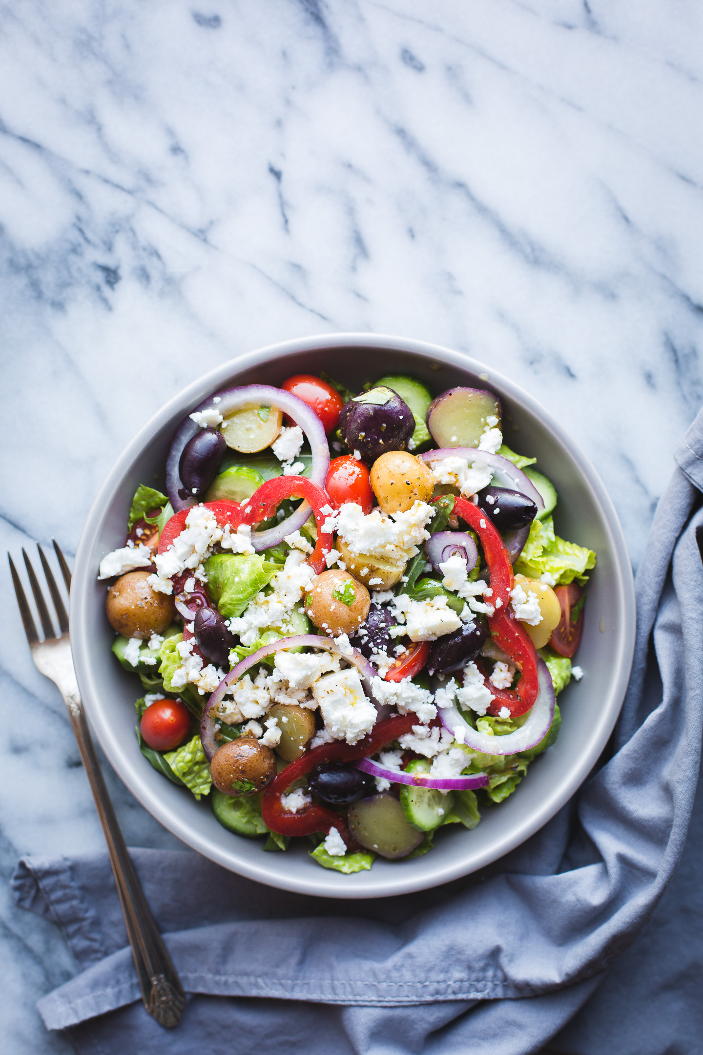 Greek Salad With Baby Potatoes Taste Love And Nourish